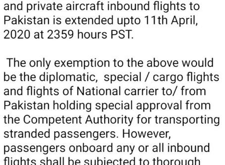 Extension in Suspension of Inbound Flights to Pakistan
