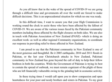 High Commissioner's Letter to Pakistani Community in New Zealand