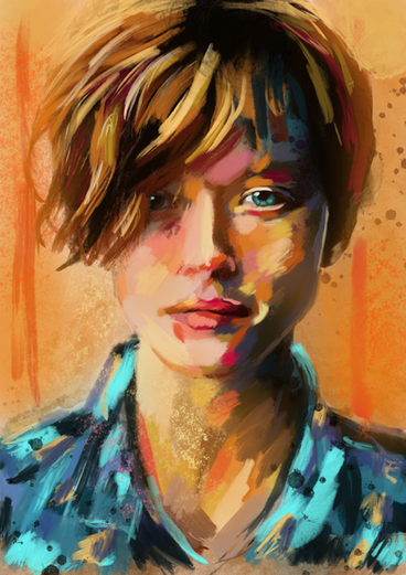 portrait in orange