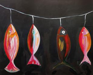 Fische an der Leine, Mischtechnik auf Leinwand, 120x160cm, 2020/21