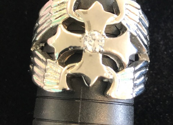 Silver Winged Iron Cross Casted w/ Center Gem