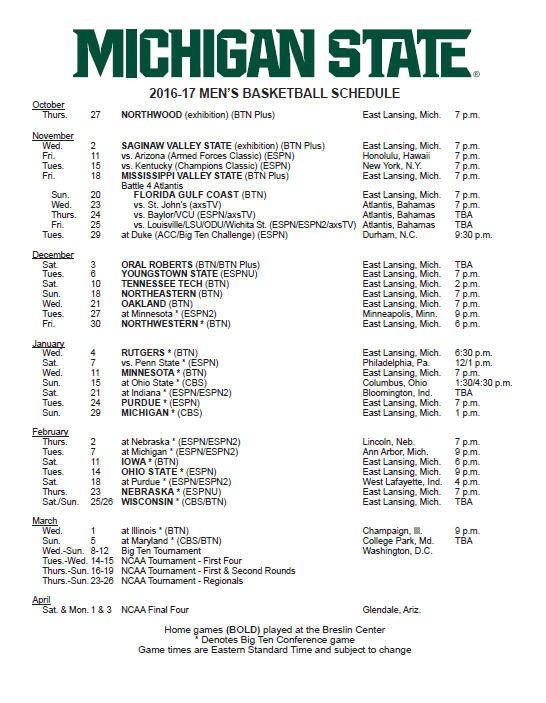 Michigan State 2016 17 Men S Basketball Schedule