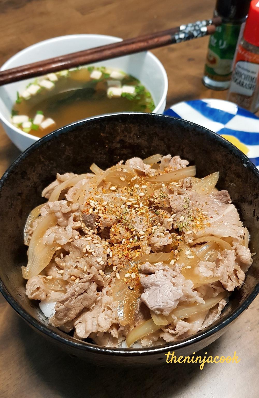 gyudon, beef, rice, yoshinoya, cooking with dog