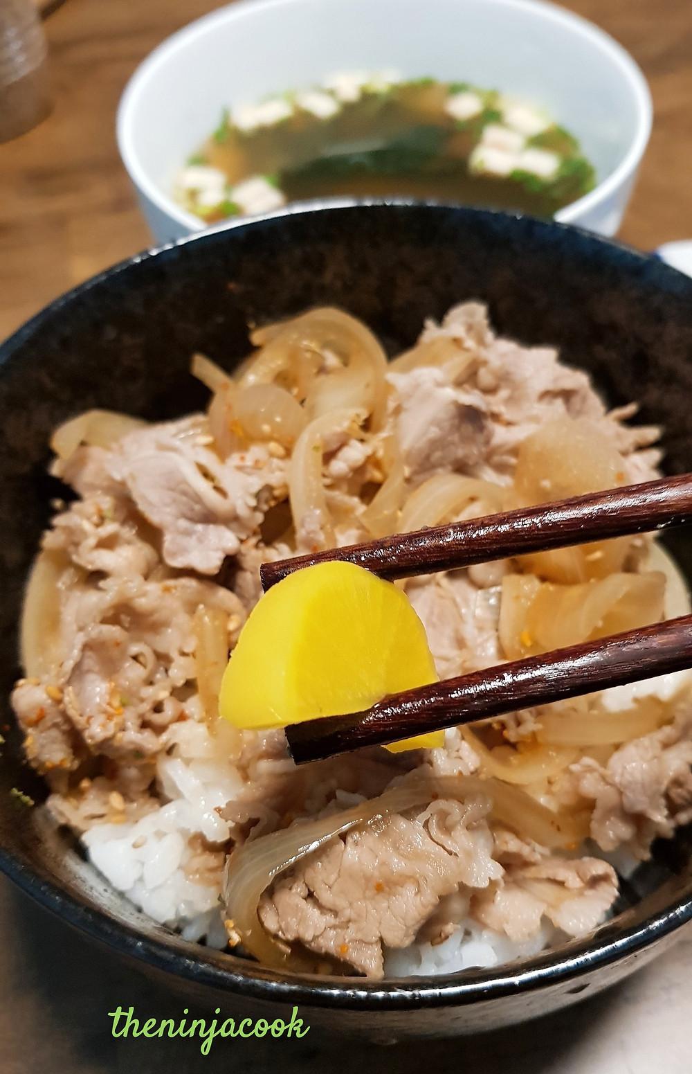 gyudon, pickles, yoshinoya, sukiya, recipe, cooking