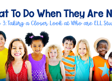 What to do when they are new, Part 3: Taking a closer look at who are ELL students.