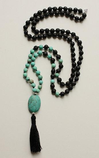 Turquoise and Lava Mala