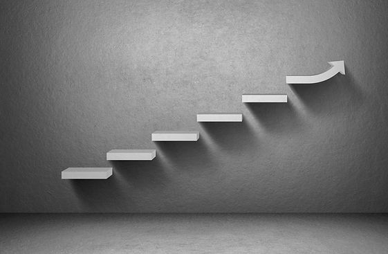 Rising arrow graph on staircase on grey