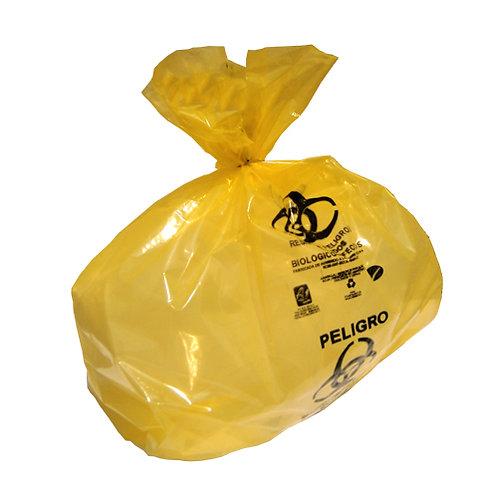 LAM-60-200 Paquete de 100 Bolsas Amarilla RPBI 60cm x 60cm