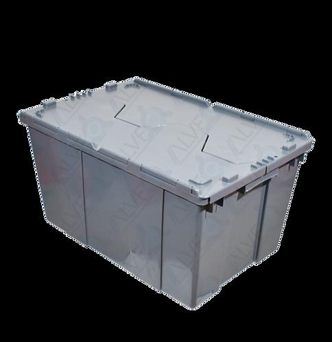 Caja de Plastico con Tapa Bisagras Mediana 60cm x 40cm x 32cm