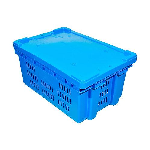 Caja de Plastico con Tapa Toronto Calada 60cm x 40cm x 28cm
