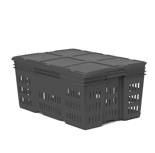 Caja de Plastico con Tapa Montreal Calada de 28 Reproceso  60cm X 40cm X 28cm