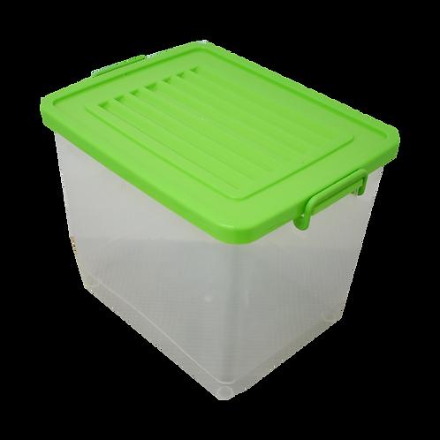 Caja de plastico transparente con tapa y asas Leo