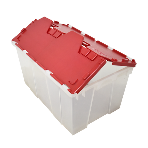 Caja de Plastico con Tapa Bisagras Mediana Transparente 59cm x 39cm x 31cm