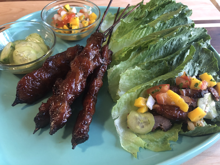 Magnolia Pork BBQ Skewer Lettuce Wrap with Mango Salsa and quick pickle side