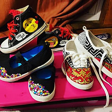 Fun sneaker customs!_#versaceinspired #Versace #emoji #sneakers #custom #sneakercustoms #girl #fun #