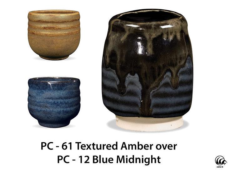 PC-61 Textured Amber OVER PC-12 Blue Midnight Glazes