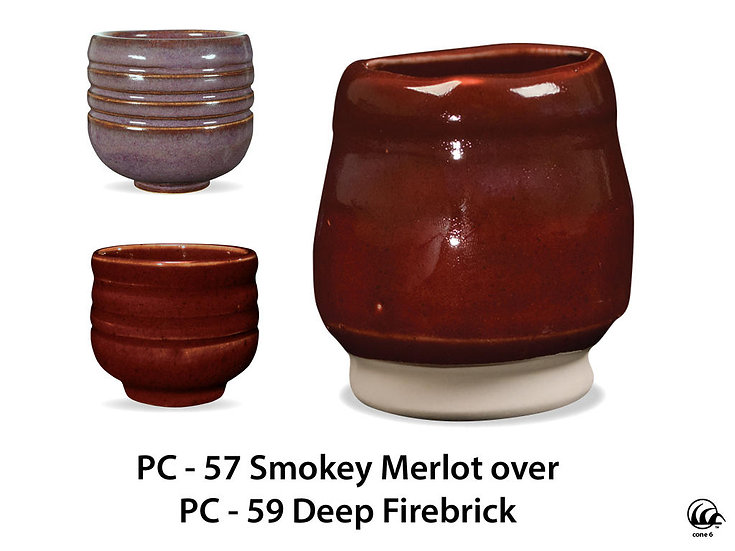 PC-57 Smokey Merlot OVER PC-59 Deep Firebrick Glazes