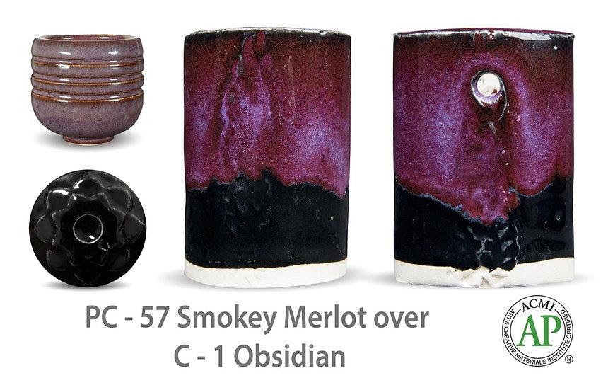 PC-57 Smokey Merlot OVER C-1 Obsidian Glazes