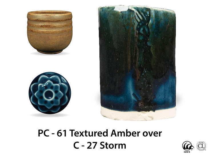 PC-61 Textured Amber OVER C-2 Storm glazes