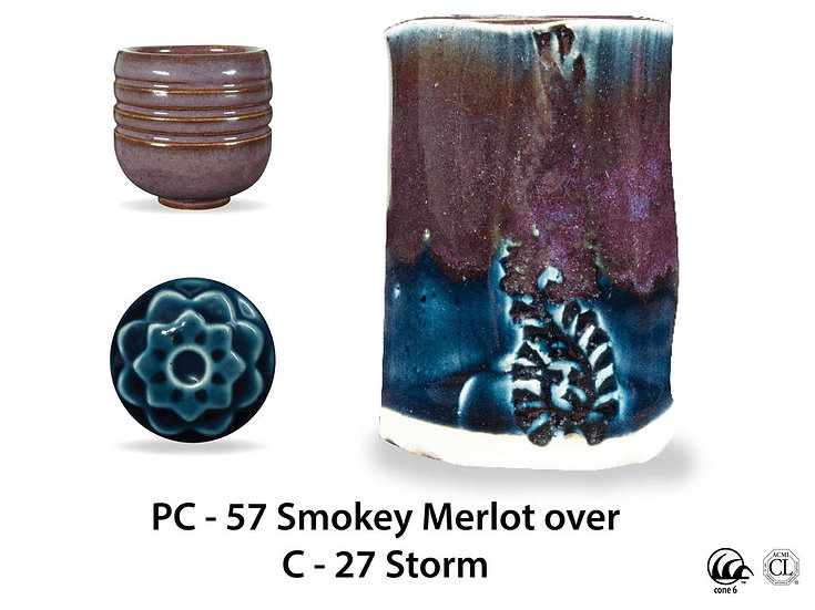 PC-57 Smokey Merlot OVER C-2 Storm glazes