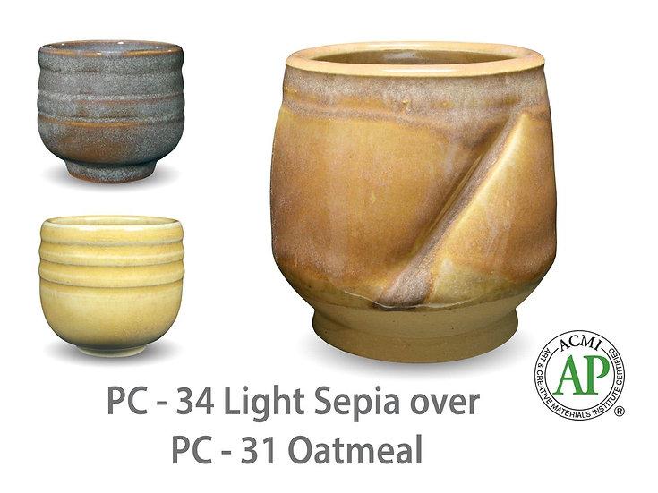 PC-34 Light Sepia OVER PC-31 Oatmeal