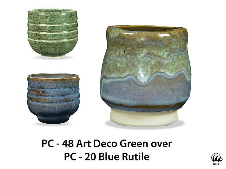 PC-48 Art Deco Green OVER PC-20 Blue Rutile Glazes
