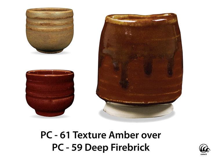 PC-61 Textured Amber OVER PC-59 Deep Firebrick Glazes