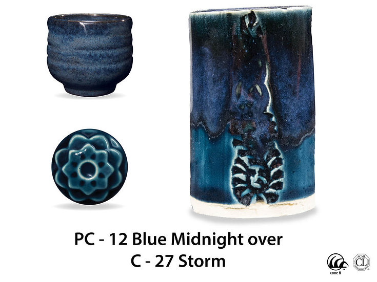PC-12 Blue Midnight OVER C-2 Storm glazes
