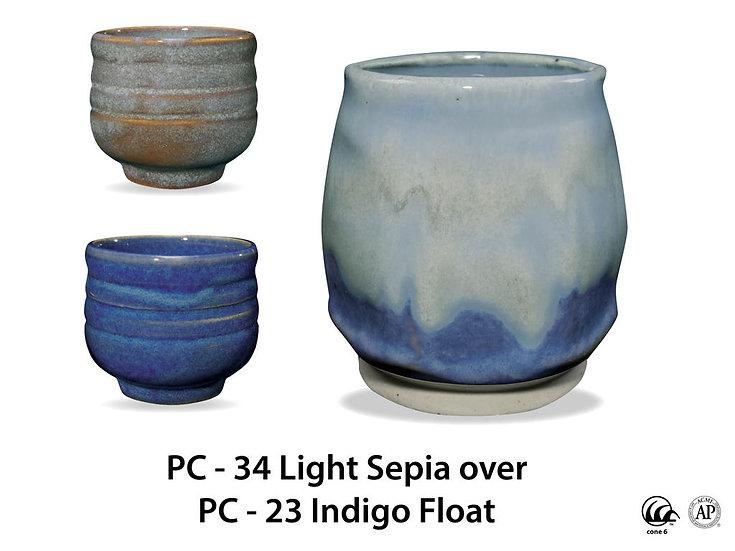 PC-34 Light Sepia OVER PC-23 Indigo Float Glazes