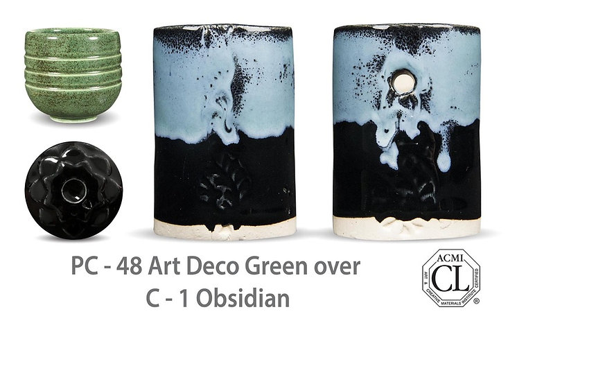 PC-48 Art Deco Green OVER C-1 Obsidian glazes