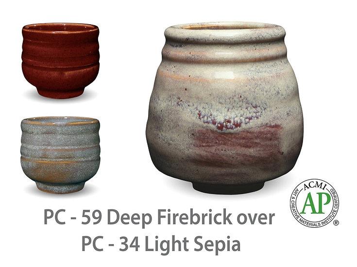 PC-59 Deep Firebrick OVER PC-34 Light Sepia Glazes