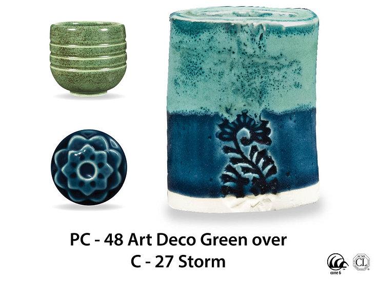 PC-48 Art Deco Green OVER C-2 Storm glazes