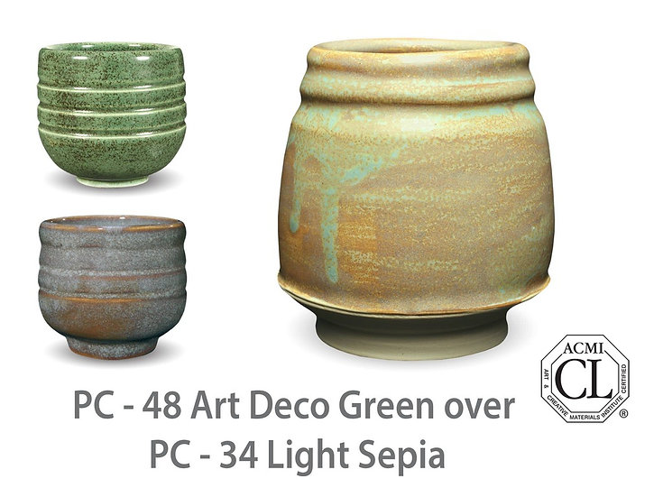 PC-48 Art Deco Green OVERPC_34 Light Sepia Glazes