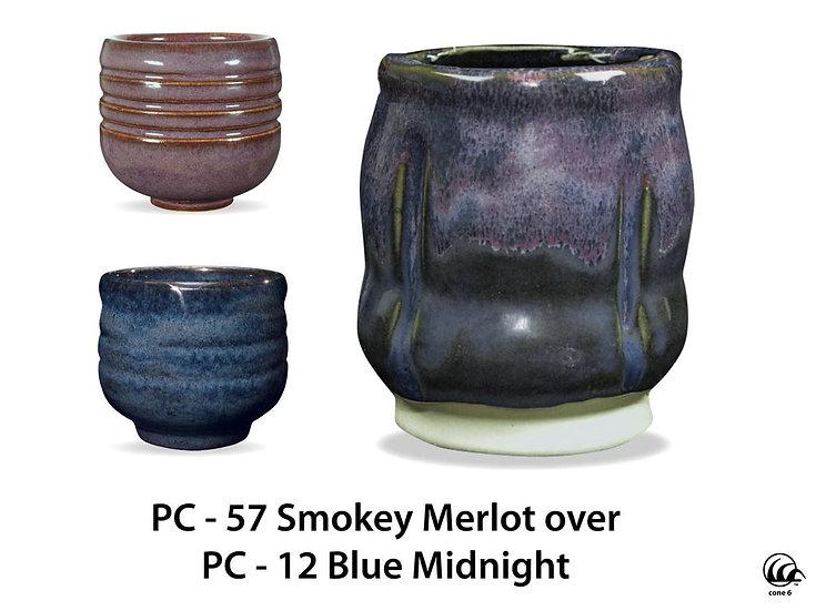 PC-57 Smokey Merlot OVER PC-12 Blue Midnight Glazes