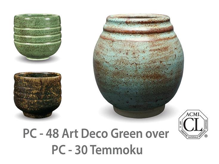 PC-48 Art Deco Green OVER PC-30 Temmoku Glazes