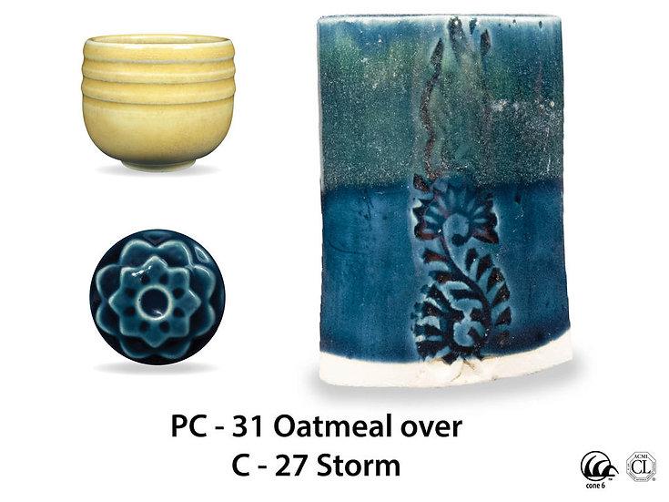 PC-31 Oatmeal OVER C-2 Storm glazes