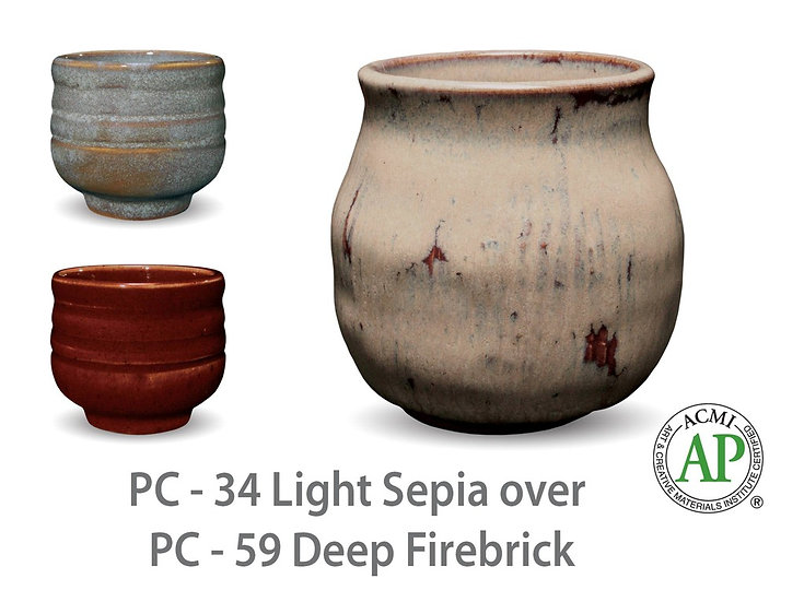 PC-34 Light Sepia OVER PC-59 Deep Firebrick Glazes
