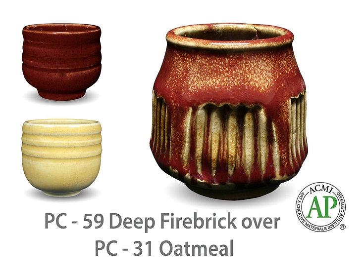 PC-59 Deep Firebrick OVER PC-31 Oatmeal Glazes