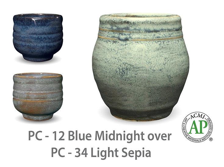 PC-12 Blue Midnight OVER PC-34 Light Sepia