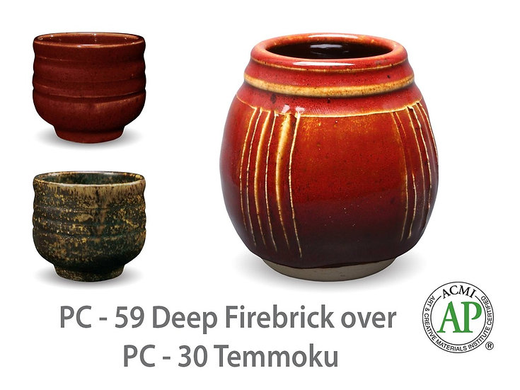 PC-59 Deep Firebrick OVER PC-30 Temmoku Glazes