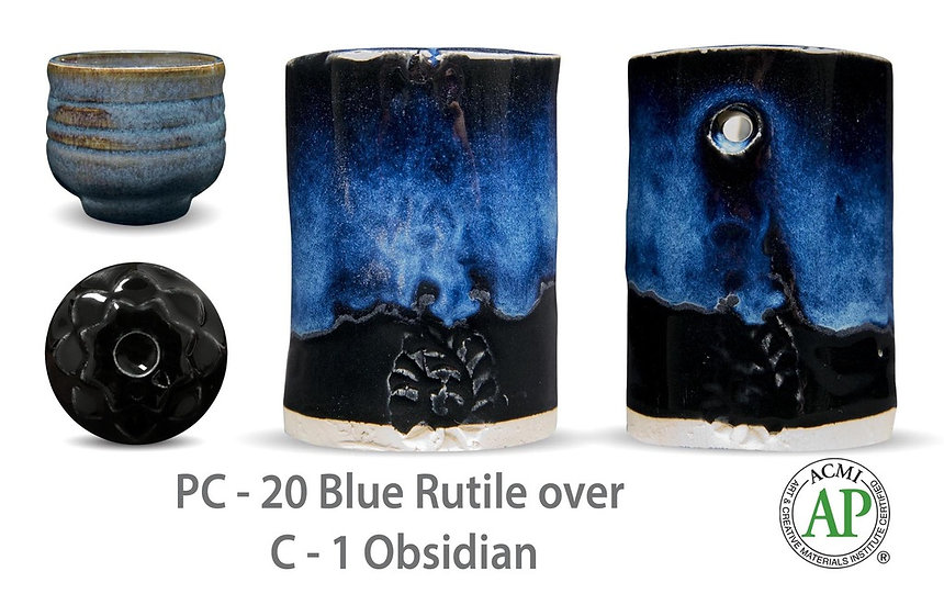 PC-20 Blue Rutile OVER C-1 Obsidian glazes
