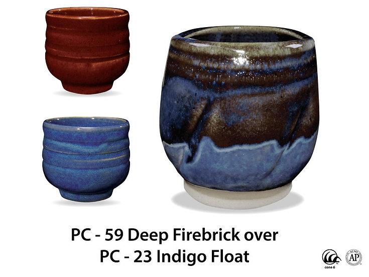 PC-59 Deep Firebrick OVER PC-23 Indigo Float Glazes
