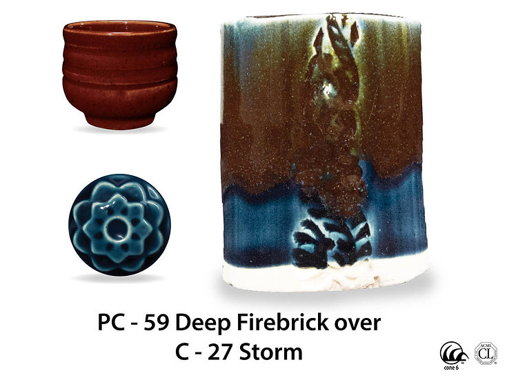 PC-59 Deep Firebrick OVER C-2 Storm glazes
