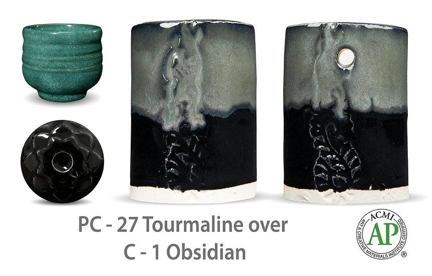 PC-27 Tourmaline OVER C-1 Obsidian glazes