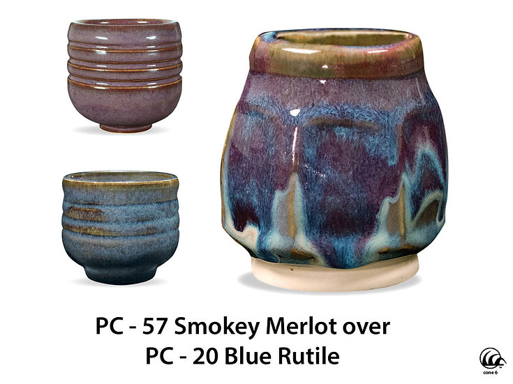 PC-57 Smokey Merlot OVER PC-20 Blue Rutile Glazes