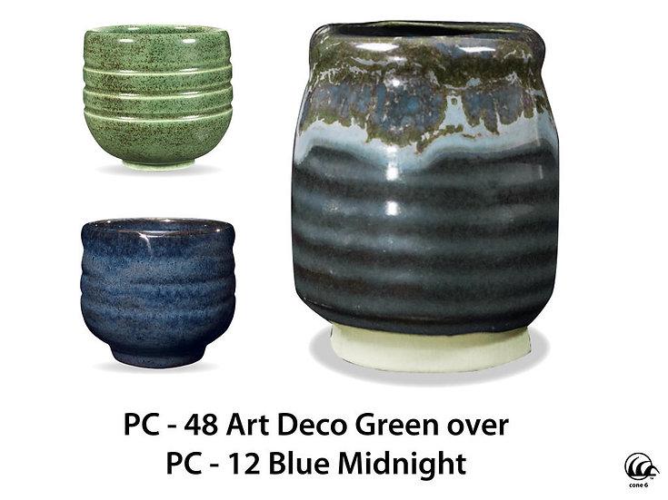 PC-48 Art Deco Green OVER PC-12 Blue Midnight Glazes