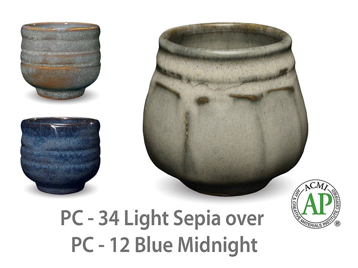 PC-34 Light Sepia OVER PC-12 Blue Midnight Glazes