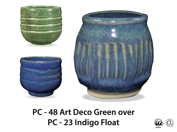 PC-48 Art Deco Green OVER PC-23 Indigo Float Glazes