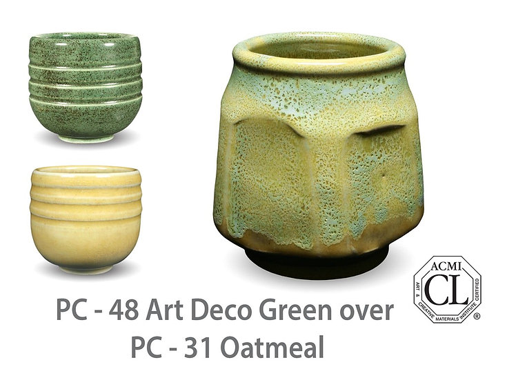 PC-48 Art Deco Green OVER PC-31 Oatmeal Glazes
