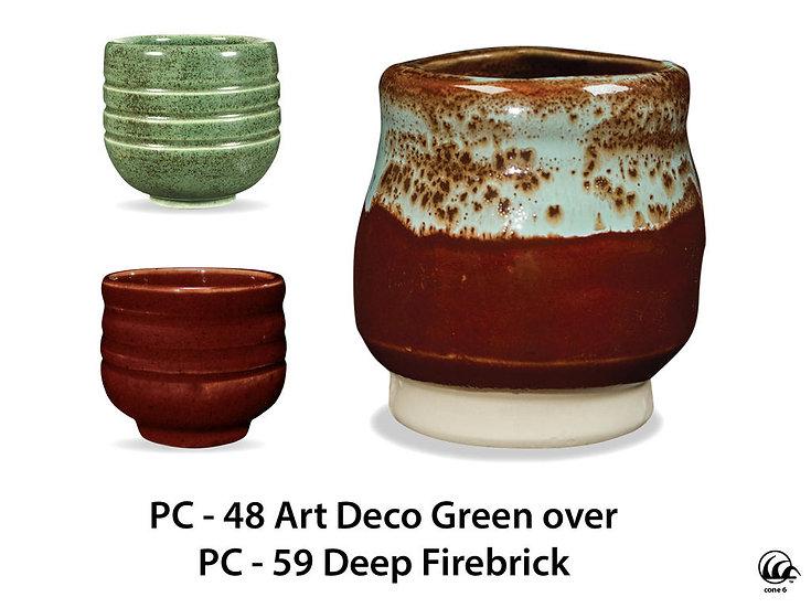 PC-48 Art Deco Green OVER PC-59 Deep Firebrick Glazes